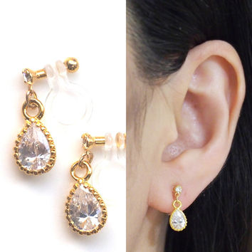 Gold Teardrop Cubic Zirconia Invisible Clip on Earrings Dangle Wedding Crystal Clip on Earrings Bridal CZ Clip Earrings Non Pierced Earrings