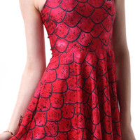 Design 3053 - Red dragon scale sleeveless above knee pleated mini dress