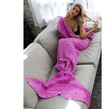 Quilt Mermaid tail fleece throw plush plaid On sofa Bed Gift