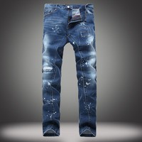 Ripped Holes Stretch Slim Jeans [1922680094813]
