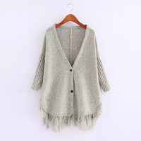 V-Neck Sleeve Tassel Button Knitted Cardigan