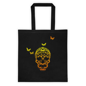 Butterfly Skull Illusion Art Tote bag