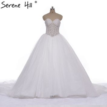 Romantic  Pearls Long Train Wedding Dress Ball Bridal Gown Sexy Wedding Dresses Plus Size 2018 ME0090