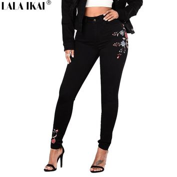 LALA IKAI Plus Size 2XL 3XL Women Denim Pants Embroidery Floral Skinny Jeans Women Black Pencil High Waist Trousers KWA0248-45