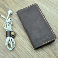 Samsung Galaxy Note 3 / 4 case, Galaxy S6 / 3 / 4 / 5 leather sleeve, Distressed Leather Purse, Man's leather wallet, monogram, H17
