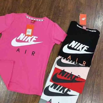 Hot Sale Nike Trending Women Men Loose Print T-Shirt Top Rose Red I-G-JGYF