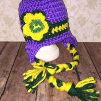 Purple Crocheted John Deere Inspired Ear Flap Hat