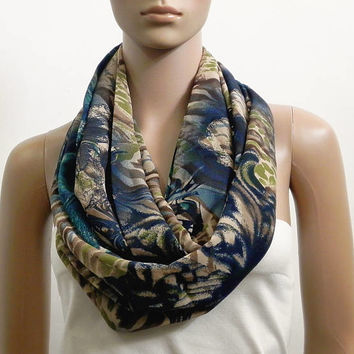 Navy Blue Infinity Scarf Shawl Long Beige Fashion Scarves for Women Chunky Cowl Scarf Tube Scarf Loop Summer Scarf Gift for her Handmade