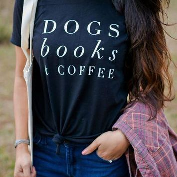 Dogs Books and Coffee TShirt - Women's Poly Cotton T-Shirt