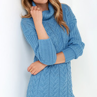 Glamorous Timeless Classic Blue Cable Knit Sweater