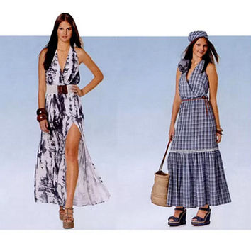 Burda 7231 SUMMER HALTER DRESS Pattern Sexy High Slit Maxi Dress Wrap Bodice Size 8 10 12 14 16 18 UNCuT 2000s Womens Sewing Patterns