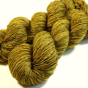Hand Dyed Yarn - Sock Weight Superwash Merino Wool Singles Yarn - Olive Oil Tonal - Knitting Yarn, Sock Yarn, Single Ply Yarn, Wool Yarn