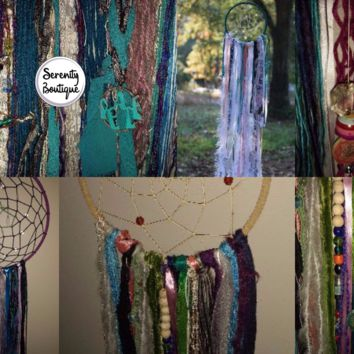 Custom Dream Catcher With Soldered Charms and Beads Plus Extra Mojo - Bohemian Spirit Dreamcatcher With Magical Objects - Amulets - Peace
