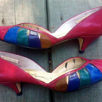 Enzo Angiolini MultiColored Leather Pumps // by HawkShopVintage