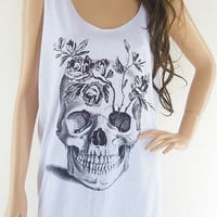 Skull Flowers (Size L) Art Design Zombie Tank Top Women T-Shirt Skull Shirt White T-Shirt Tunic Screen Print Size L