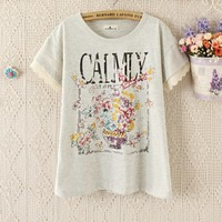 New Arrivals : letters lace cuffs round neck T-shirt ghl5027