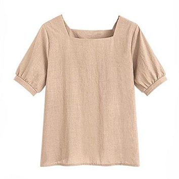 FINCATI Shirts Women Cotton Linen Puff Sleeve Soft Casual Loose Tops Blouse