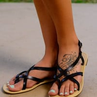 The Sara Sandal, Black