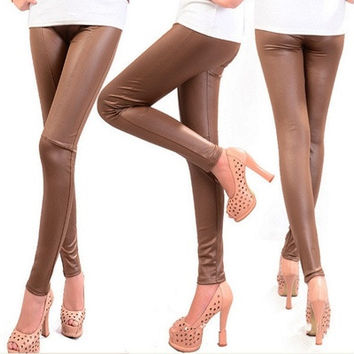 Fashion trousers Sexy Faux Leather Leggings  Black brown  PU Tights Pants  large size XXL [8833381068]