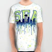 Seattle 12th Man Art Watercolor Space Needle Painting  All Over Print Shirt by Olechka