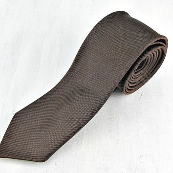 Vintage 50s 60s Skinny Tie, Designer ARROW Tie, Brown Striped Tie, Mens Skinny Tie, Mid Century Modern, Gift for Him Men Boyfriend