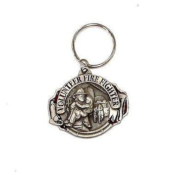 Firefighter Heavy Duty Metal Pewter Keychain Fire Fighter Volunteer Key Chain