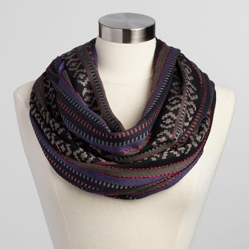 Black and Purple Metallic Woven Scarf