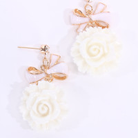 White Lacquer Finished Floral Dangle Earrings