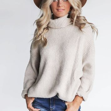 Crave More Beige Chunky Turtleneck Sweater