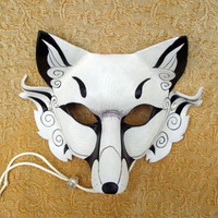 Inari Fox Leather Mask ...original hand made leather Japanese fox mask