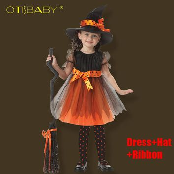2017 Girls Halloween Coaplay Dress With Hat Children Girls Witch Costume Kids Masquerade Infant Christmas Festival Baby Clothes