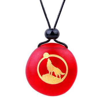 Amulet Frosted Sea Glass Stone Howling Wolf and Moon Good Luck Powers Royal Red Adjustable Necklace