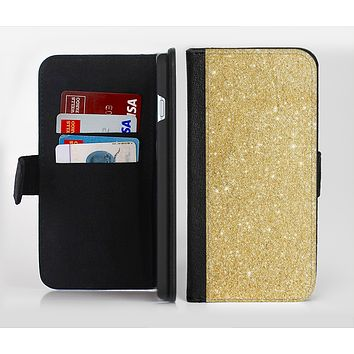 The Gold Glitter Ultra Metallic Ink-Fuzed Leather Folding Wallet Credit-Card Case for the Apple iPhone 6/6s, 6/6s Plus, 5/5s and 5c
