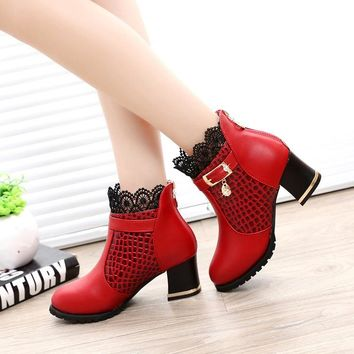 Round Toe Lace Cut Out Crystal Low Chunky Heel Short Thick Boots
