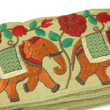 Elephants Marching Silk Trim, Ribbon, Sari Border from India / Boho, Woodland, Fresh Spring Fashion - 1 Yard