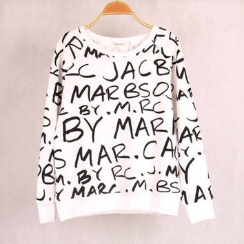 """ Marc Jacobs "" Print Long Sleeve Women Casual Shirt Sweatshirt Blouse T-Shirt _ 1804"