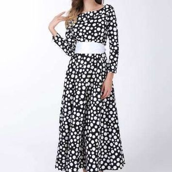 polka dots long sleeve womens maxi dress plus size available
