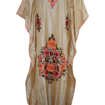 Womens Silk Kaftan Kashmiri Beige Embroidered Caftan Kimono Dress M