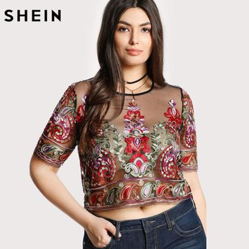 Embroidery Plus Size Blouse For Women Fashion Transparent Sexy Paisley Embroidered Mesh Top Summer Multicolor Crop