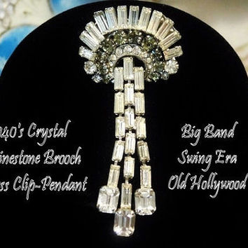 Vintage 1940s Rhinestone Brooch Big Band Swing Era Old Hollywood Baguette Crystal Brooch Dress Clip Pendant Wedding Bride Bridal Jewelry