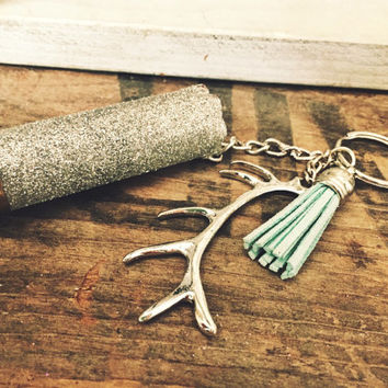 Silver Glitter 12 Gauge Shotgun Shell Keychain with Deer Antler and Teal Leather Charm