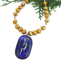 Kokopelli Dichroic Handmade Necklace Pearls Purple Gold Southwest OOAK