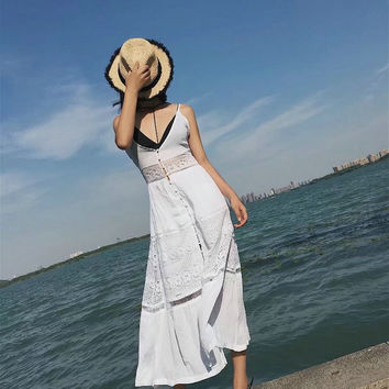 White Backless Hollow Out Lace Patchwork Spaghetti Strap Dress Sea Vacation Shaped One Piece Dress [11485883855]
