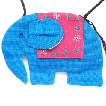 Small Elephant Shaped Animal Cross Body Bag in Bright Blue