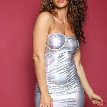 Holographic Iridescent Silver Bustier Tube Dress