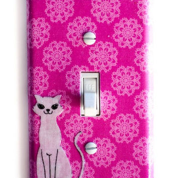 Mod Kitty Cat on Pink Background Single Toggle Switchplate Switch Plate