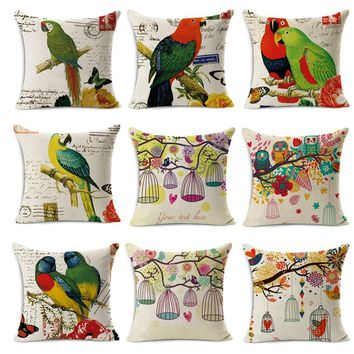 Home Decorative Pillows fine Linen Cotton Cushion 45x45cm pillowcase vintage parrot cute owls bird printed seat couch pillow 18""