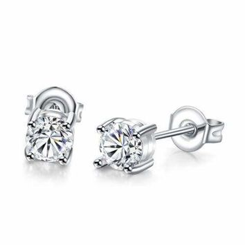 2 Ct Round Created Diamond Stud Earrings in 14K White Gold Plate 726519e3b