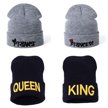 2018 Fashion KING QUEEN Knitting Beanies With Cotton For Couples Winter Bonnet Warm Hats For Men Women