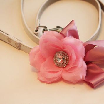Pink Floral Leash, Wedding accessorry, High quality Leather, Pink wedding